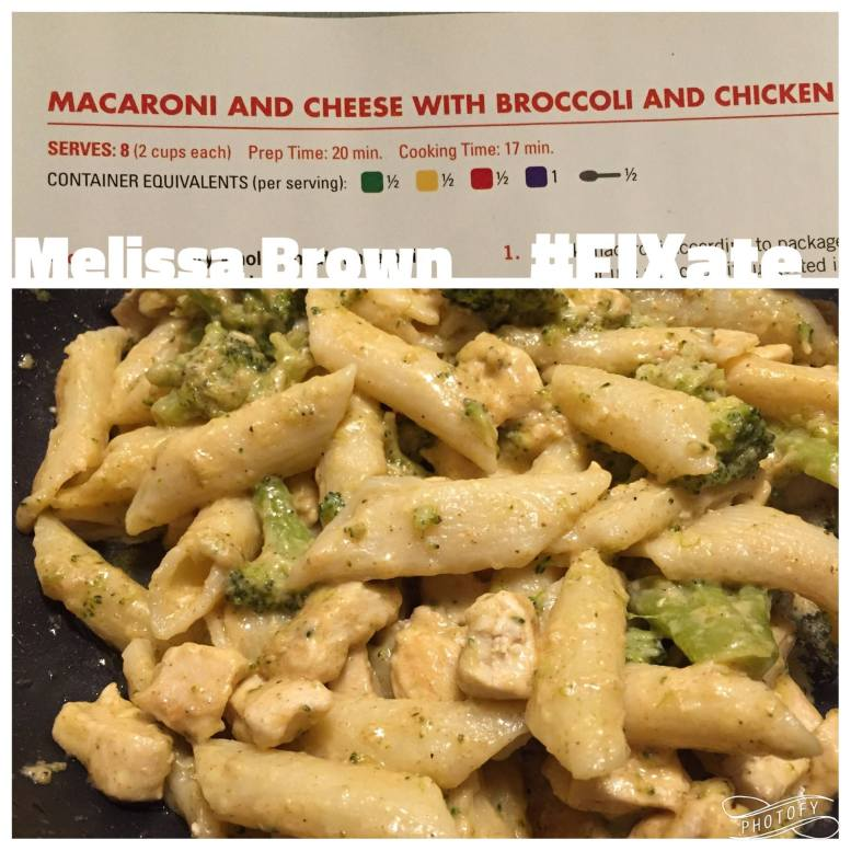 Fixate, dinner recipe, macaroni and cheese, broccoli and chicken