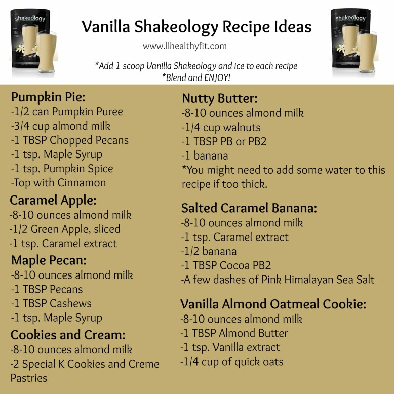 Vanilla Shakeology Recipes - Version 3