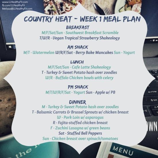 Country Heat - Week 1 Meal Plan
