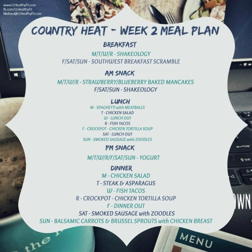Country Heat - Week 2 Meal Plan
