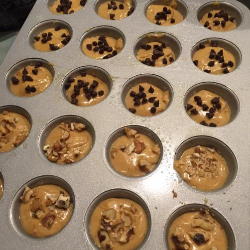 Guilt Free Muffins, Chocolate Chips, Peanut Butter, walnuts