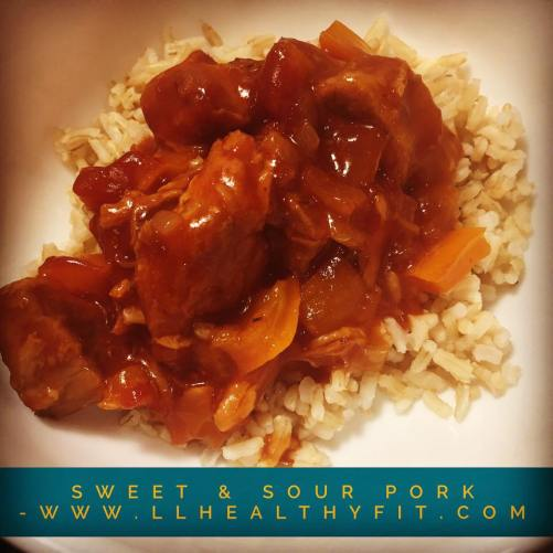 Sweet and sour pork over brown rice